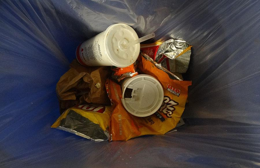 Throughout the hallways of Francis Lewis, numerous recycling and trash bins are placed for students' convenience.