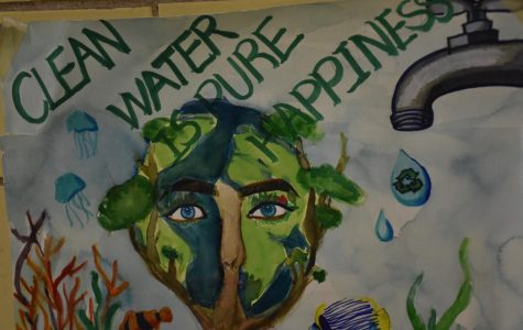 A poster promotes the conservation of clean water to combat the issue of water pollution.