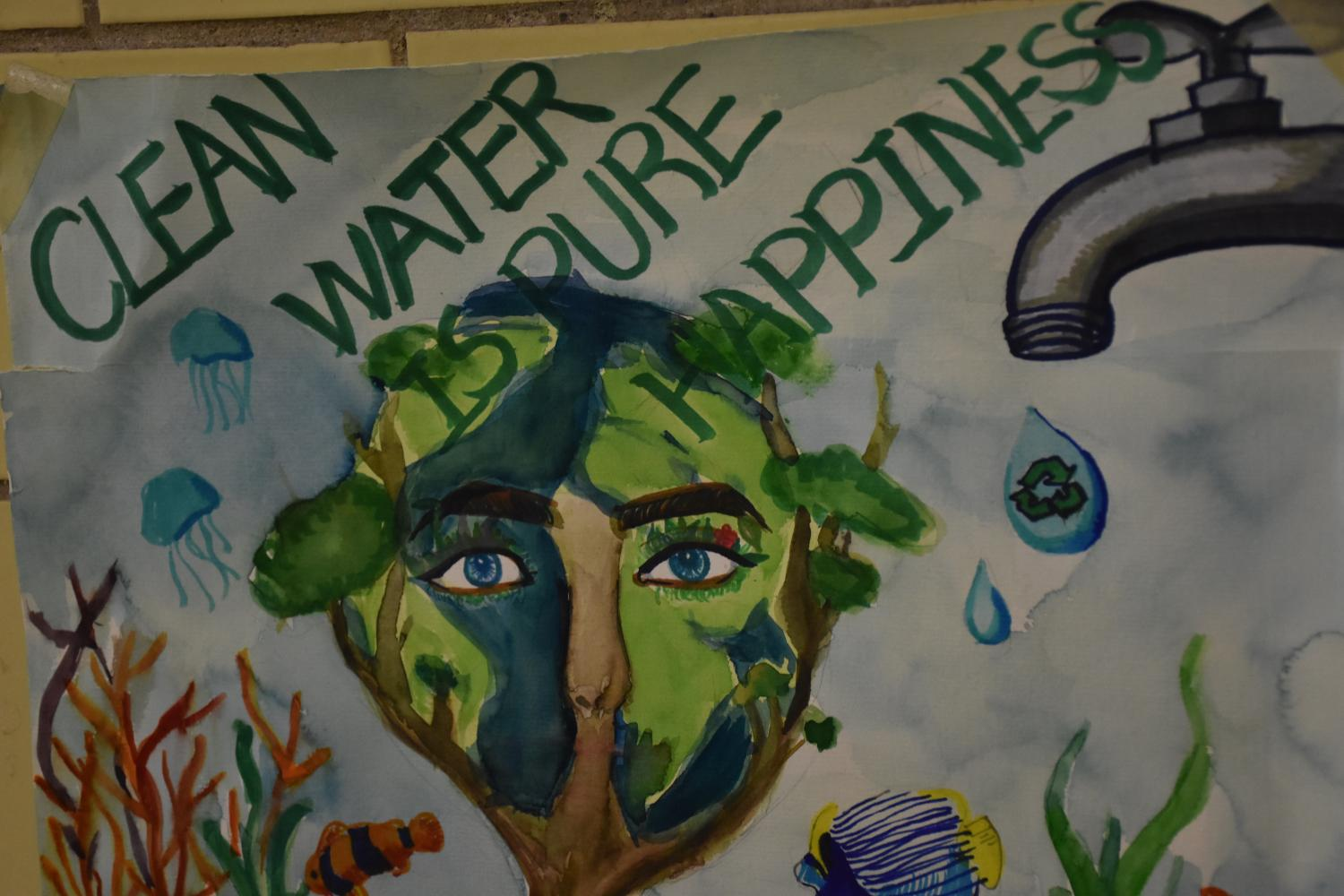 A+poster+promotes+the+conservation+of+clean+water+to+combat+the+issue+of+water+pollution.
