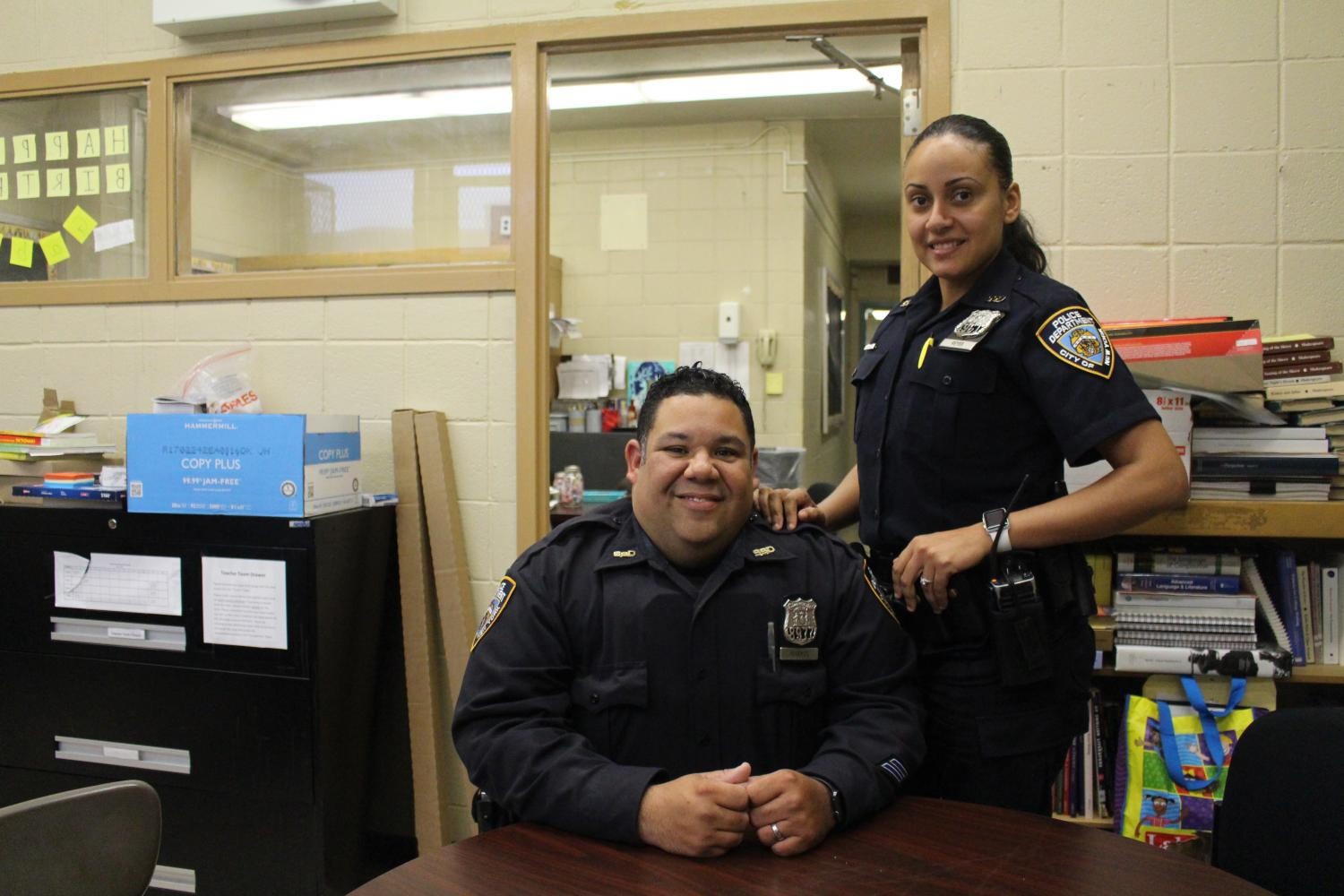 (left to right) Officers Marmol and Reyes visit Francis Lewis High School on May 5