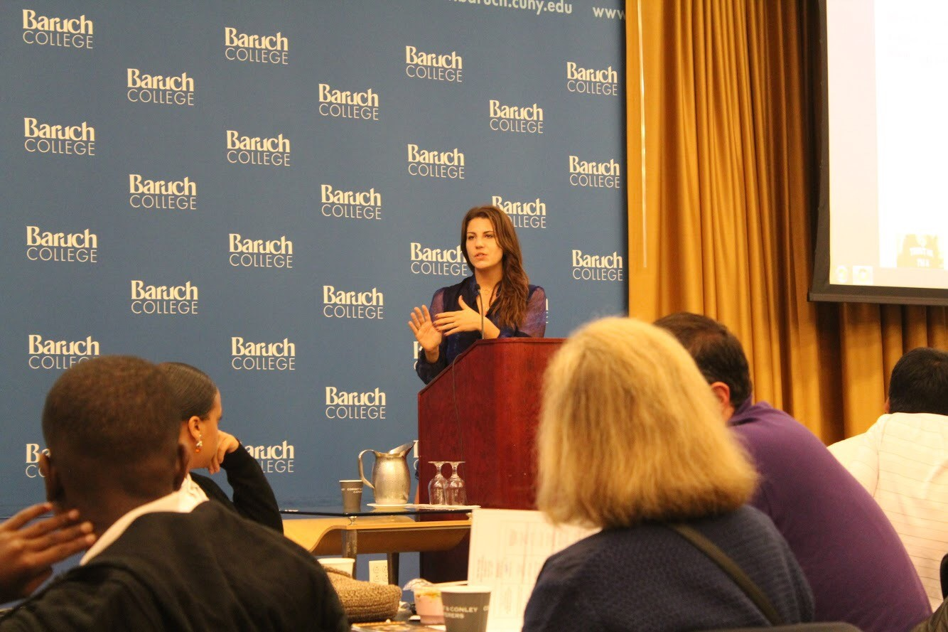 Teen Vogue Editor Lauren Duca speaks at the Baruch College Journalism Conference on November 3
