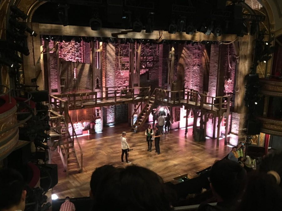 Students from various schools perform on the Hamilton stage before the show.