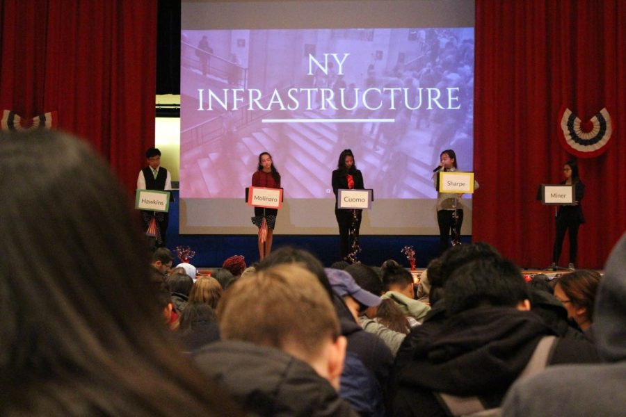The+students+representing+political+candidates+Andrew+Cuomo%2C+Marc+Molinaro%2C+Larry+Sharpe%2C+Stephanie+Miner%2C+and+Howie+Hawkins+engaging+in+a+passionate+debate+revolving+around+New+York+Infrastructure.%0A