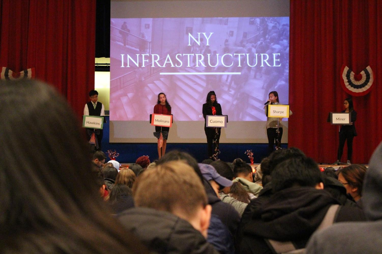 The students representing political candidates Andrew Cuomo, Marc Molinaro, Larry Sharpe, Stephanie Miner, and Howie Hawkins engaging in a passionate debate revolving around New York Infrastructure.
