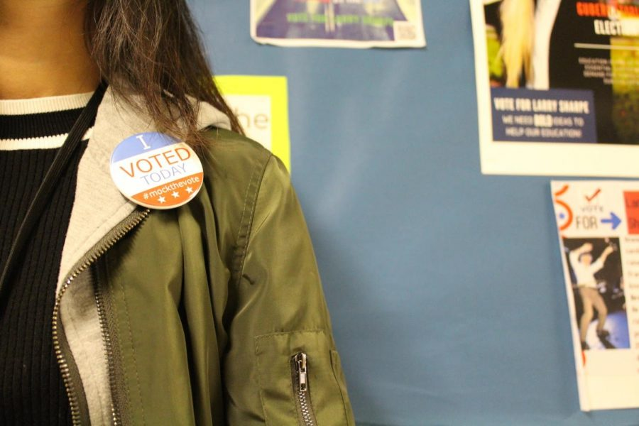 """Students who get a chance to watch the mock election and contribute to the voting polls receive stickers and pins which state the words, """"I VOTED TODAY."""" Students walk around with pins on their bags, clothing, and stickers on their books and phones, encouraging other students to get involved and view a debate."""