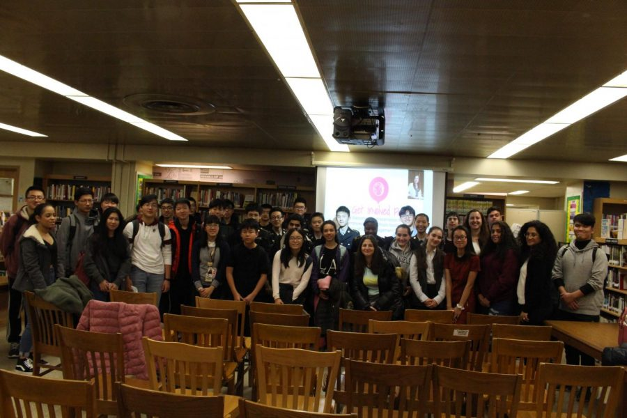 Francis Lewis students with Assemblywoman Nily Rozic.