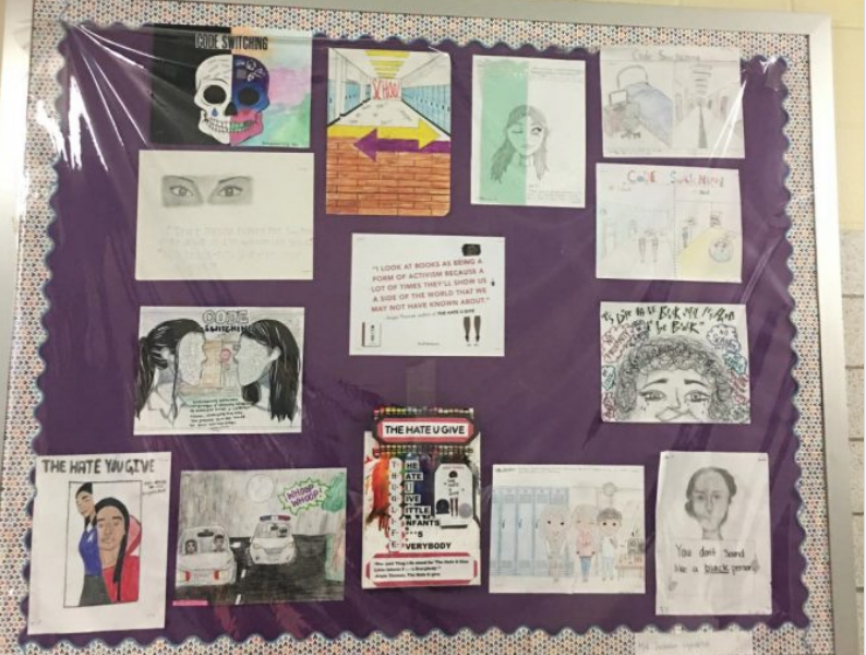 Francis Lewis student projects based on the novel The Hate U Give.