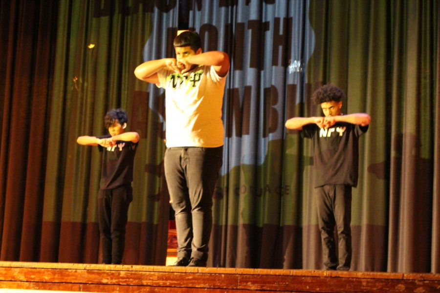 The Boys Step Team Nu Gamma Si performs at the Black History Month Assembly