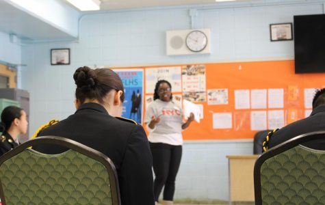 A Civics for All spokeswoman explained the process for registering and voting to class of JROTC seniors.