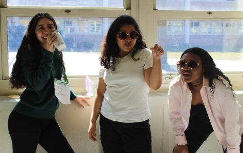 "Triple Threat: Juniors Isabella Lebarr, Kaliyah Robinson, and Sahar Husain celebrate Meme Day in style. Robinson credited memes as an integral part of her generation, as she and her friends dressed up as Kermit The Frog, Salt Bae, and the infamous squinting woman. ""It's an iconic day, you know,"" Robinson said. ""I feel like we always reference memes so we just kinda had to."""