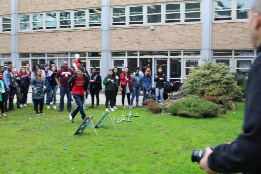 College Competition: Tensions ran high and scores ran even higher, as the class of 2019 participated in various lawn-games during Decision Day.