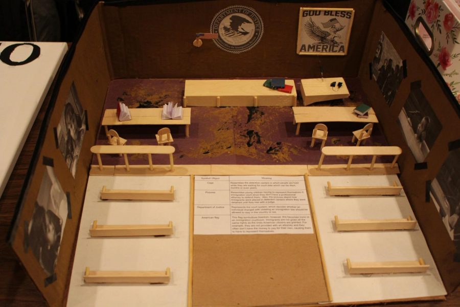 Lauren Lovett created a diorama of a court of law, where young immigrants were forced to represent themselves without an attorney.