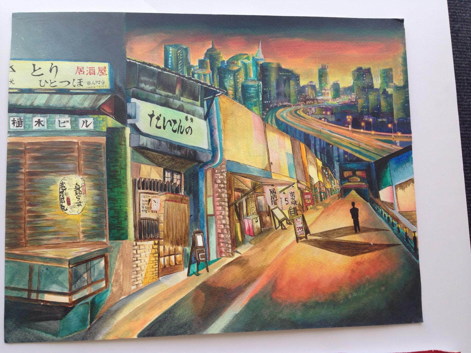 An+intricate+piece+depicting+a+side-street+in+Japan+at+sunset.