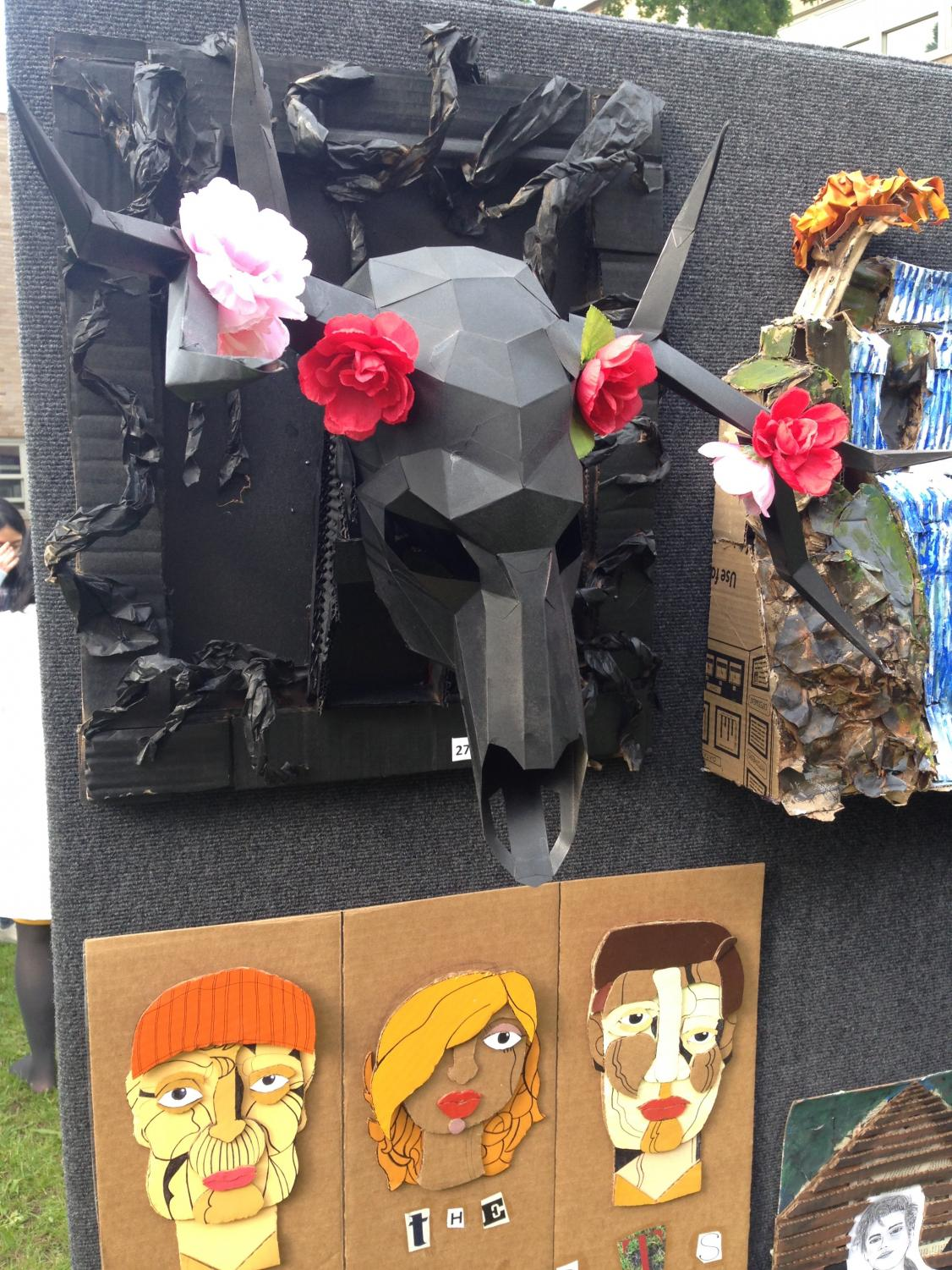 A+papercraft+cow+skull+created+and+decorated+by+Erika+Versoza.