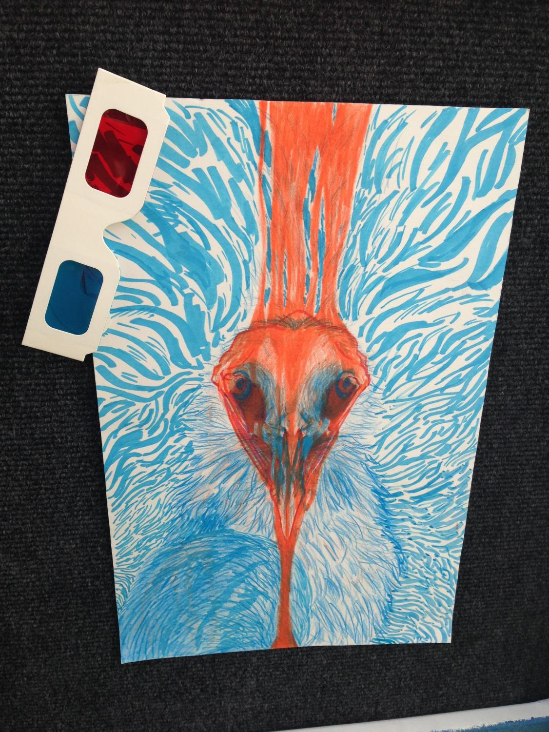 This+piece+utilizes+the+3D+glasses+hanging+on+the+corner+to+separate+red+from+blue.++In+one+eye%2C+you+can+see+the+face+of+an+ostrich%2C+but+in+the+other+you+can+see+the+skull+of+one.