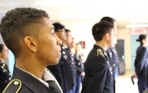 JROTC students line up for Wednesday inspections.