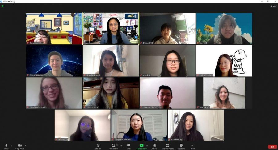 A 2021 yearbook staff meeting over Zoom