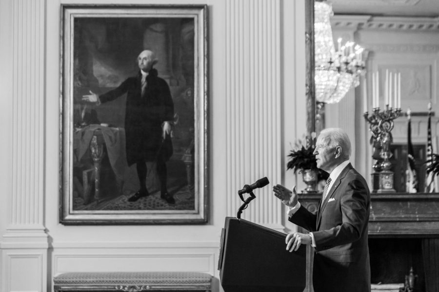 President Joe Biden delivers remarks at the virtual Munich Security Conference Friday, Feb. 19, 2021, in the East Room of the White House. (Official White House Photo by Chandler West)