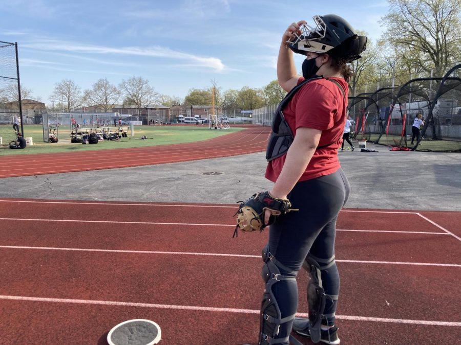 Sophomore Sonia Rosales Rosenthal attends practice with the varsity softball team, which was one of five teams practicing on the Francis Lewis athletic field and track.